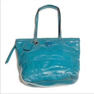Coach Teal Patent Leather Shoulder Bag